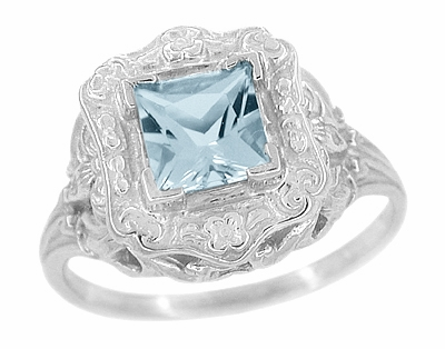 Art Nouveau Ring with Princess Cut Aquamarine in 14K White Gold - Item R615 - Image 1