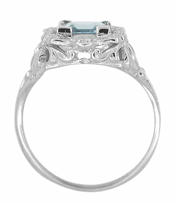 Art Nouveau Ring with Princess Cut Aquamarine in 14K White Gold - Item R615 - Image 3