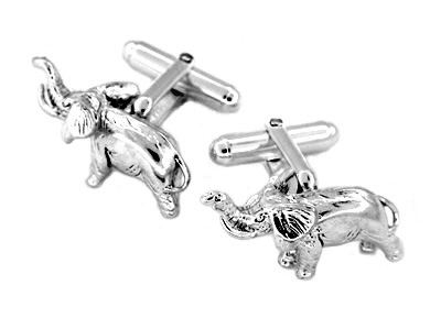 Baby Elephant Cuff Links in Sterling Silver