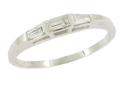 "Baguette ""Three Stone"" Diamond Wedding Band in 14 Karat White Gold"