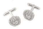 Baseball and Baseball Glove Cufflinks in Sterling Silver