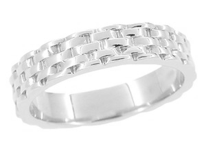 1960's Basket Weave Wedding Band in 14 Karat White Gold - 4mm Wide - Ring Size 6