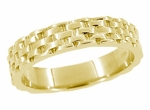 Basket Weave Wedding Band in 14 Karat Yellow Gold