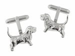 Basset Hound Cufflinks in Sterling Silver