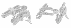 Black Bass Jumping Fish Cufflinks in Sterling Silver - Click to enlarge