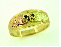 Black Hills Gold Leaves Ring in 10K Green Pink and Yellow Gold