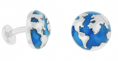 Blue Enamel World Globe Map Cufflinks in Sterling Silver