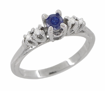 Blue Sapphire and Diamond Vintage Ring in 18 Karat White Gold - Item R789 - Image 2