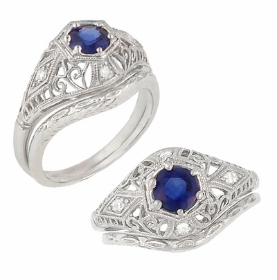 Blue Sapphire and Diamonds Scroll Dome Edwardian Filigree Engagement Ring in 14K White Gold - Item R234 - Image 2