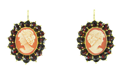 Bohemian Garnet Cameo Earrings in 14 Karat Yellow Gold and Sterling Silver Vermeil