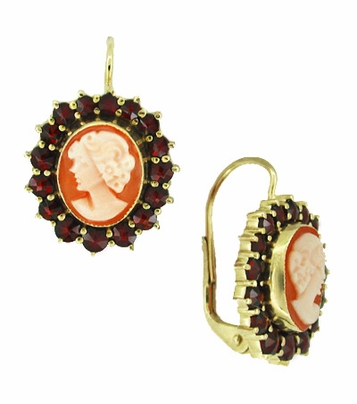 Shell Cameo Earrings with Bohemian Garnet Frames in 14 Karat Yellow Gold & Sterling Silver Vermeil - Item E129 - Image 1