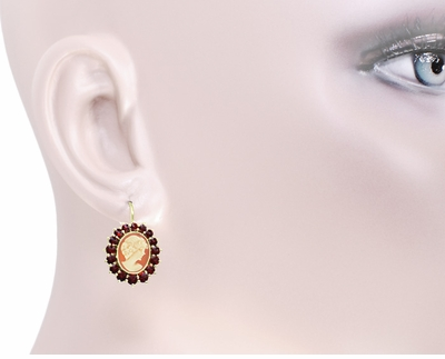 Shell Cameo Earrings with Bohemian Garnet Frames in 14 Karat Yellow Gold & Sterling Silver Vermeil - Item E129 - Image 2