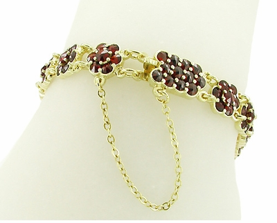 Bohemian Garnet Floral Link Bracelet in Sterling Silver with Yellow Gold Vermeil - Item GBR111 - Image 1