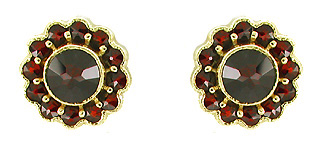 Bohemian Garnet Flower Blossom Stud Earrings in 14 Karat Yellow Gold and Sterling Silver Vermeil