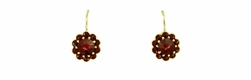 Bohemian Garnet Victorian Drop Earrings in 14 Karat Yellow Gold and Sterling Silver Vermeil