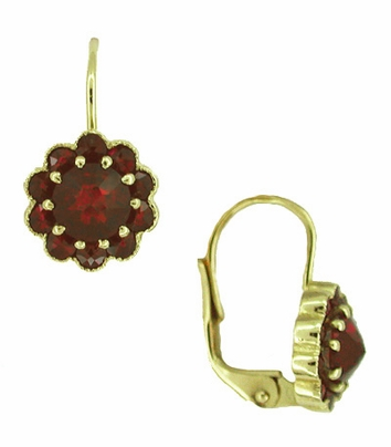 Bohemian Garnet Victorian Drop Earrings in 14 Karat Yellow Gold and Sterling Silver Vermeil - Item E128 - Image 1