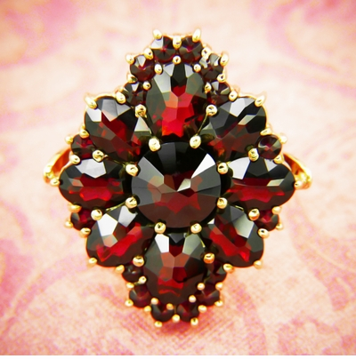 Victorian Style Bohemian Garnet Cocktail Ring in 14 Karat Gold and Sterling Silver Vermeil - Item R193 - Image 3
