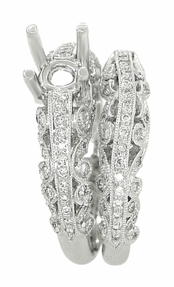 Borola 3/4 Carat Diamond Engagement Ring Setting and Wedding Ring in 18 Karat White Gold - Item R811 - Image 2