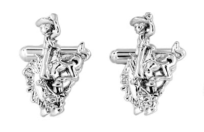 Bucking Bronco Cowboy Cufflinks in Sterling Silver