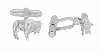 Buffalo Cufflinks in Sterling Silver - Bison Cufflinks - Item SCL182 - Image 1