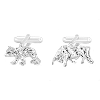 Bull and Bear Cufflinks in Sterling Silver | Wall Street Cuff Links
