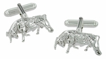 Bull Cufflinks in Sterling Silver