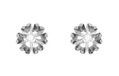 Buttercup Diamond Stud Earrings in 14 Karat White Gold