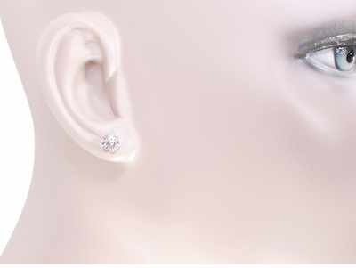 Buttercup Diamond Stud Earrings in 14 Karat White Gold - Item E108W - Image 2