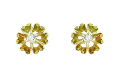 Buttercup Diamond Stud Earrings in 14 Karat Yellow Gold