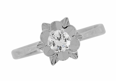 Buttercup Flower Antique Diamond Engagement Ring in 18 Karat White Gold - Item R1061 - Image 1