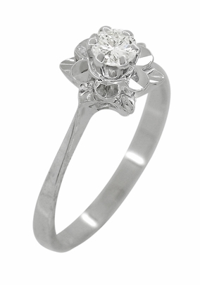 Buttercup Flower Antique Diamond Engagement Ring in 18 Karat White Gold - Item R1061 - Image 2