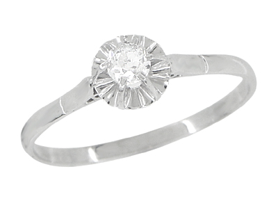 Buttercup Solitaire Filigree Antique Engagament Ring in Platinum