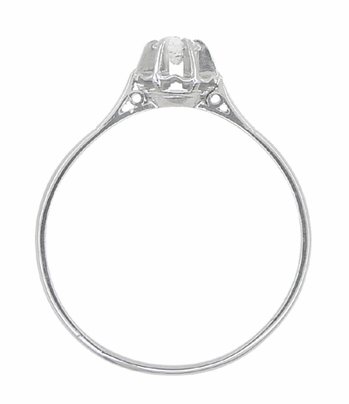 Buttercup Solitaire Filigree Antique Engagament Ring in Platinum - Item R590 - Image 2