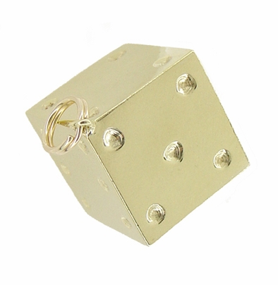 Vintage Lucky Dice Charm in 14 Karat Yellow Gold - Item C383 - Image 1