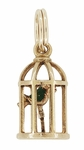 Vintage Bird in a Cage Charm in 10K Yellow Gold | Pet Bird Pendant