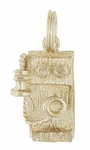 Antique Wall Telephone Charm in 14K Yellow Gold | Vintage Old Time Phone Pendant
