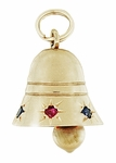 Movable Ringing Gem Set Bell Pendant in 14K Yellow Gold | Ruby Sapphire Unique Vintage Bell Charm
