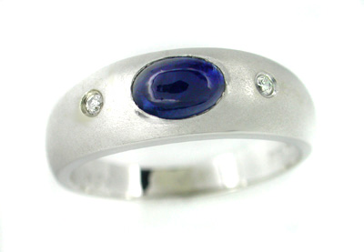 Cabochon Sapphire and Diamond Ring in 14 Karat White Gold