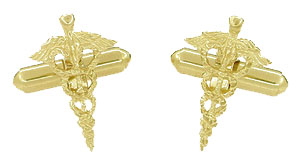 Cadeuceus Doctors Cufflinks in 14 Karat Yellow Gold