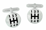 Car Drivers Gear Shift Knob Cufflinks in Sterling Silver with Black Enamel