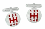 Car Drivers Gear Shift Cufflinks in Sterling Silver with Red Enamel - Cuff Links