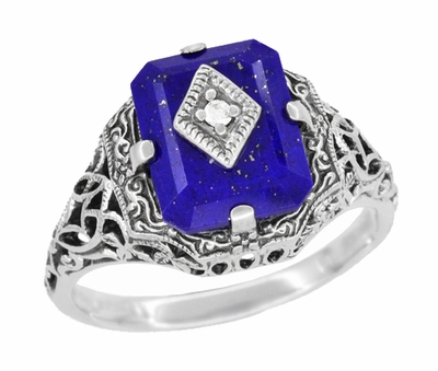 Carolines Ring - Art Deco Filigree Diamond and Lapis Lazuli Ring in Sterling Silver | Actual Caroline Forbes Daylight Ring Replica - Item SSR15LA - Image 1