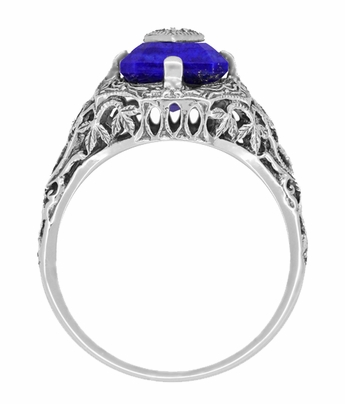 Carolines Ring - Art Deco Filigree Diamond and Lapis Lazuli Ring in Sterling Silver | Actual Caroline Forbes Daylight Ring Replica - Item SSR15LA - Image 3