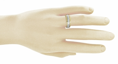 Carved 1950s Geometric Comfortable Fit Wedding Band in Two-Tone 14K White & Yellow Gold - 7mm Wide - Size 9 - Item R807 - Image 1