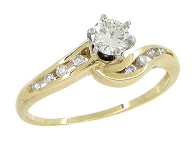 Cascading Diamonds Estate Engagement Ring in 14 Karat Yellow Gold