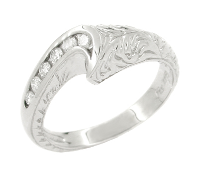 Channel Set Diamond Art Deco Wave Ring in 14 Karat White Gold