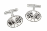 Checkered Flag Cufflinks in Sterling Silver