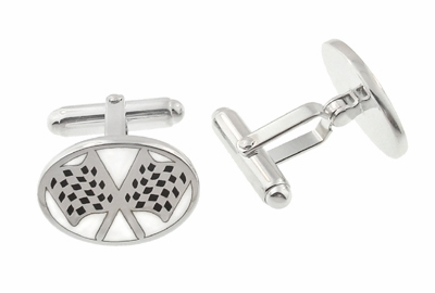 Checkered Flag Cufflinks in Sterling Silver  - Item SCL162 - Image 1