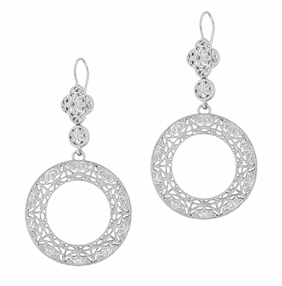 Circle of Love Art Deco Sterling Silver Drop Dangle Filigree Earrings - Item E170W - Image 1
