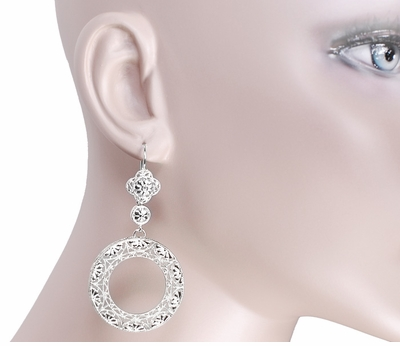 Circle of Love Art Deco Sterling Silver Drop Dangle Filigree Earrings - Item E170W - Image 2